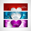 Valentine's Day Set of stylish colorful three header heart desi — Stockvectorbeeld