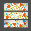 Valentine's Day Set of cute hearts header vector illustration - Imagen vectorial