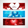 Valentine's Day colorful Set of shiny banners and header vector — Stock Vector