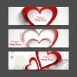 Valentine's Day Set of cute red heart vector header design — Stock Vector