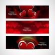 Set of shiny bright colorful hearts banners and header vector — Stock Vector