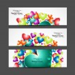 Love Valentine's Day hearts colorful three header vector illustr - Vettoriali Stock