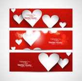 Beautiful Valentine's Day red colorful three header vector desig — Stock Vector