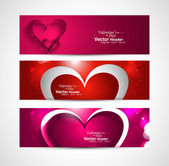 Valentines day colorful greeting card colorful three header desi — Stock Vector