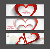 Valentine's Day Set of cute red heart vector header design — ストックベクタ