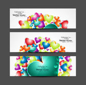 Love Valentine's Day hearts colorful three header vector illustr — Stockvector