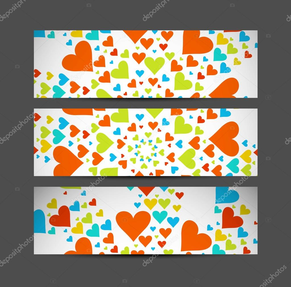 Valentine's Day Set of cute hearts header vector illustration — Stock Vector #19455367