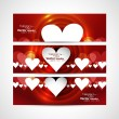 Valentine's Day design red header background hearts set vector i — Vektorgrafik