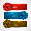 Valentine's Day colorful shiny header vector  background — Vettoriali Stock