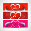 Valentine's Day colorful three header set vector illustration — Stock Vector