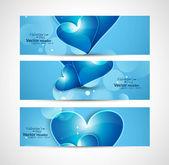 Valentine's Day design blue shiny header heart set vector — Stock Vector