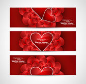 Valentine's Day design red header card background vector illustr — Stock Vector