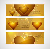 Valentine's Day colorful shiny header background hearts set vect — 图库矢量图片