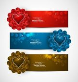 Valentine's Day colorful shiny header vector background — Stock Vector