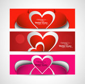 Valentine's Day colorful three header set vector illustration — Vettoriale Stock