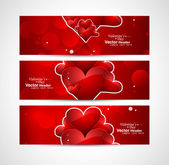 Red colorful heart Valentine's Day header design vector illustra — Stock Vector