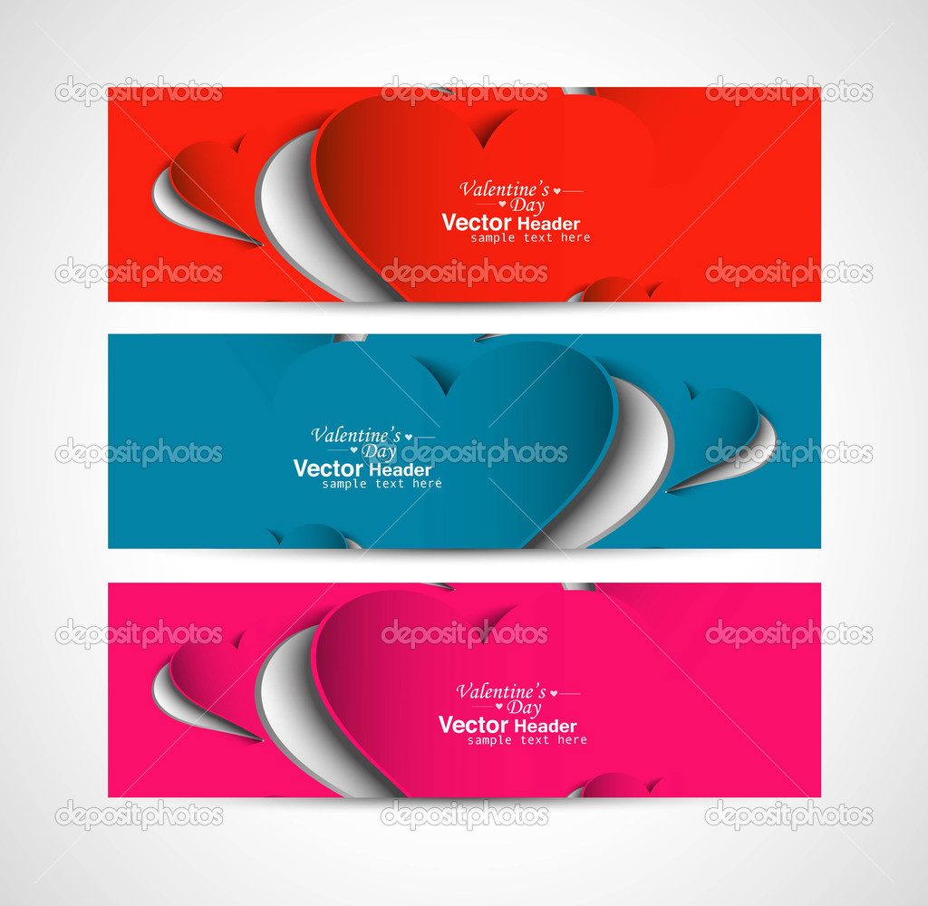 Creative Valentine's Day design colorful header set vector illustration — Stock Vector #19508215