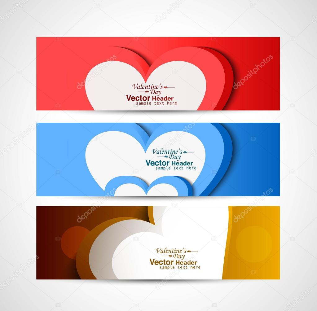 Three colorful heart Valentine's Day header set vector background — Stock Vector #19508221