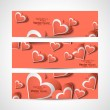 Valentine's Day colorful hearts website header or banner set vec — Stock Vector
