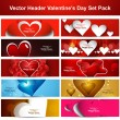 Valentine's Day colorful shiny hearts presentation headers colle — Grafika wektorowa