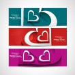 Love Valentine's Day colorful hearts celebration header set back — Stock Vector
