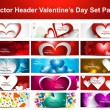 Valentine's Day colorful hearts 15 headers presentation collecti — Stok Vektör #19550611