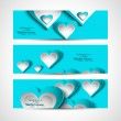 Valentine's Day blue colorful hearts website header set vector — Stock Vector