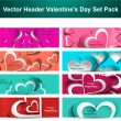 Valentine's Day colorful hearts 8 headers presentation collectio - Stock Vector
