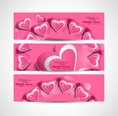 Valentine's Day pink colorful hearts website header or banner se — Stock Vector