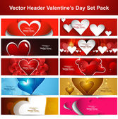 Valentine's Day colorful shiny hearts presentation headers colle — Vecteur