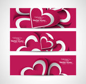 Valentine's Day colorful hearts presentation header set — Stock Vector