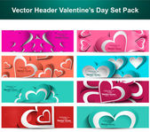 Valentine's Day colorful hearts 8 headers presentation collectio — Stockvector