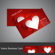 Business card set red colorful Valentine's Day heart stylish vec — Stock Vector
