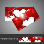 Red Valentine's Day business card set colorful heart vector ill — Stok Vektör