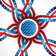 4th July badge ribbon of American independence day circle vector — Vector de stock