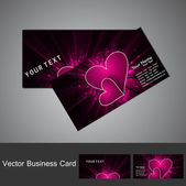 Fantastic Valentine's Day colorful heart business card set — Stock Vector