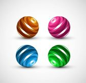 Abstract collection of spheres circle colorful stripes vector — Stock Vector