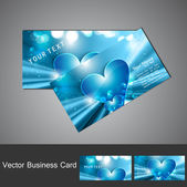 Blue Valentine's Day business card set vector — Stock Vector