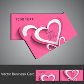 Shiny pink colorful heart business card set design — Stock Vector