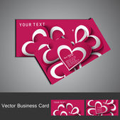 Business card set colorful heart stylish background illustration — Stock Vector