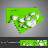 Valentine's Day green colorful heart business card set vector — Stock Vector