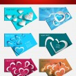 Valentine's Day colorful hearts 6 business card presentation col — Stock Vector