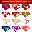Valentine's Day colorful hearts 12 business card presentation co — Stok Vektör