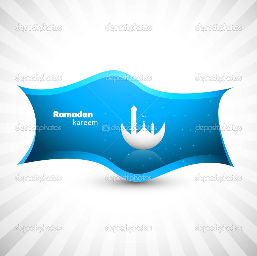 Ramadan kareem blue colorful vector design - Stock Illustration