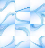 Abstract blue colorful business wave vector set — Stock Vector
