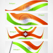 Indian flag stylish tricolor wave header four collection - Stock Vector