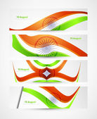 Indian flag stylish tricolor wave header four collection — Stock Vector