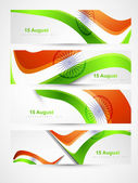 Indian flags stylish wave header four collection vector — Stock Vector