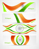 Indian flags stylish wave header four collection — Stock Vector