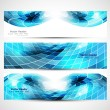 Abstract mosaic header blue colorful wave vector  — Stock Vector